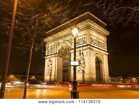 The Triumphal Arch At Night, Paris.