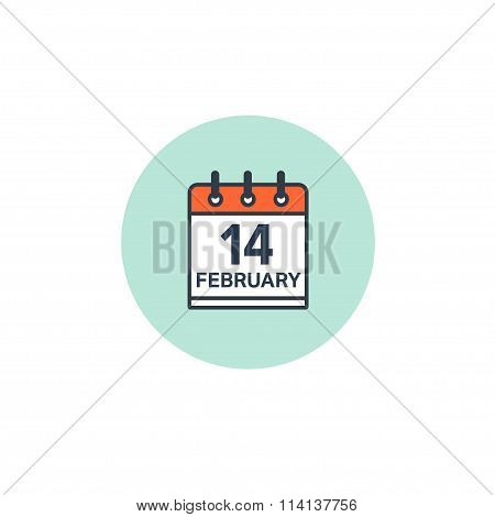 February 14, calendar icon. Valentines day. Love. Date.
