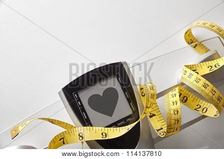 Scale With Healty Heart Message And Measuring Tape Top
