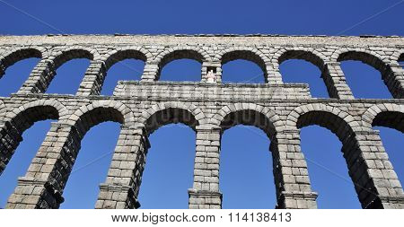 Ancient Roman aqueduct bridge of Segovia, Castilla Leon, Spain