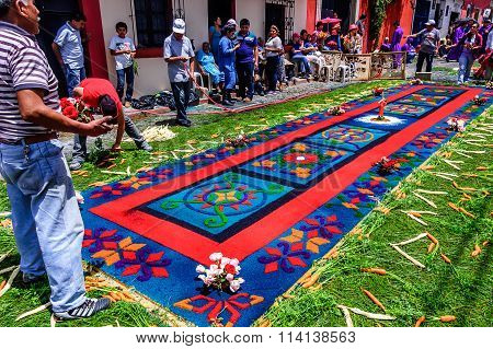 Making Lent Processional Carpet, Antigua, Guatemala