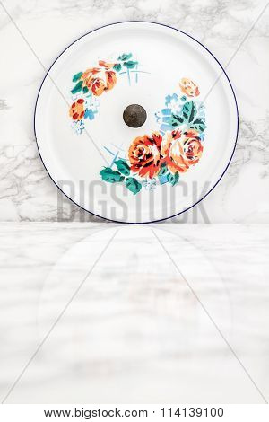 White Vintage Enamel Saucepan Cover With Flower Design  With Flower Design