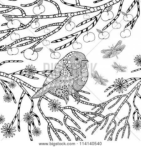 Zentangle stylized tropical bird in flower garden