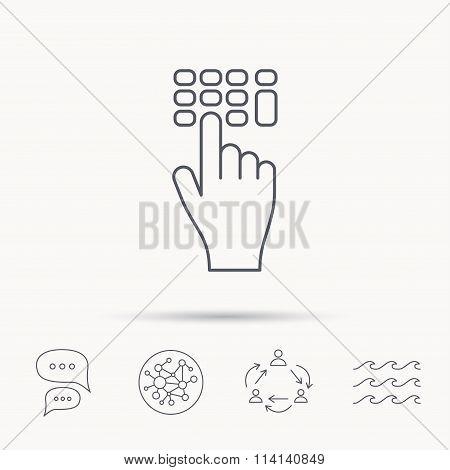 Enter pin code icon. Click hand pointer sign.