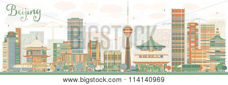 Abstract Beijing Skyline with Color Buildings. Vector Illustration. Business travel and tourism concept with historic buildings. Image for presentation, banner, placard and web site.