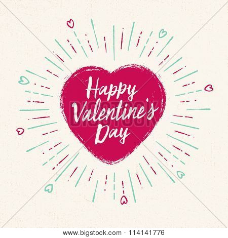 Handwritten, vintage flavored Valentine's Card - Happy Valentine's Day - EPS10