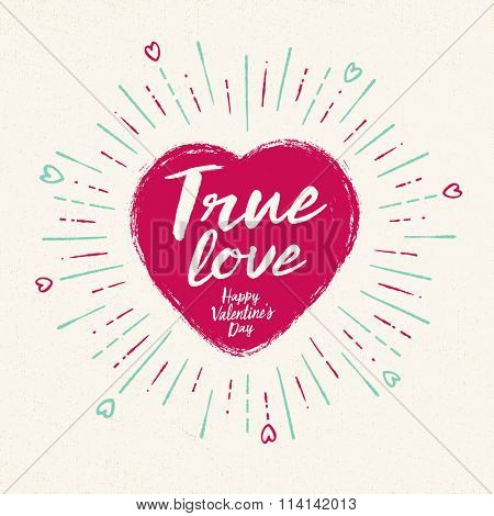 Handwritten, vintage flavored Valentine's Card - True Love - EPS10