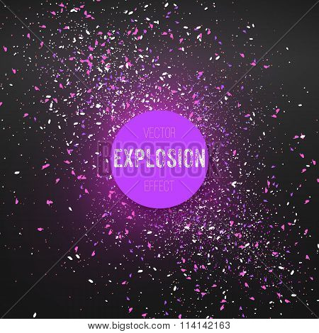 Outer Space Exlosion Vector Effect. Confetti Particle Fragments
