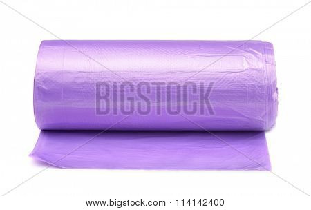 Front view of disposable trash bags roll isolated on white