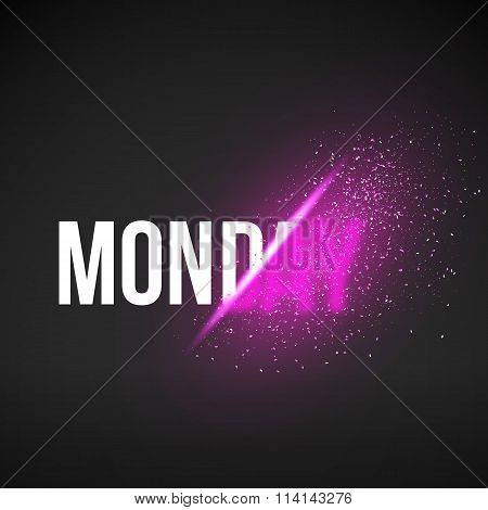 Monday Sale Energy Explosion Concept Vector Illustration. Week D