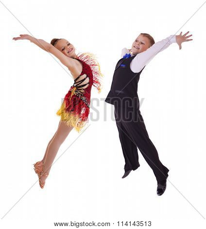 Young dancers jumping in the studio, isolated on white