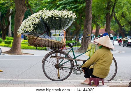 White daisy flower vendor in a street in Hanoi