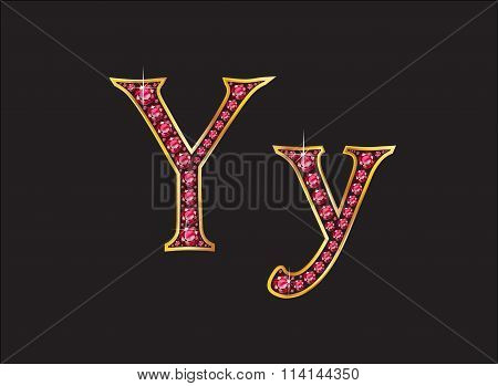 Yy Ruby Jeweled Font With Gold Channels