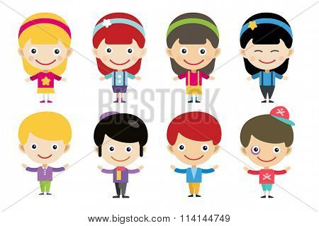 Cute cartoon boys and girls together. Children people. Kids different costumes. Kids characters countries of the world in national costumes. Kids, children, kids international friendship