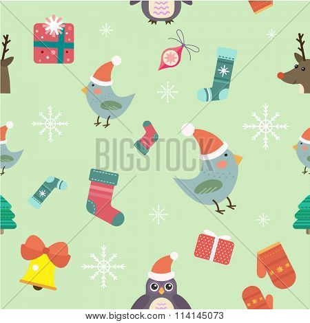 Christmas seamless pattern background icons set. Christmas tree, Christmas ball, Christmas bird, Christmas Tree, Christmas socks. Christmas Gift, balls, toys, snowflake, Christmas Decoration symbols