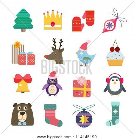 Christmas icons set. Christmas tree. Christmas ball, Christmas letter. Christmas birds, Christmas cake. Christmas Gift, socks, ball and snowflake, Christmas Decoration symbols. 2016 New Year icons