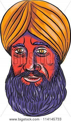 Sikh Turban Beard Watercolor