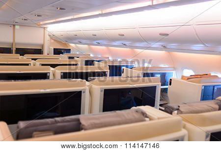 SINGAPORE- NOVEMBER 03, 2015: interior of Singapore Airlines Airbus A380. Singapore Airlines Limited is the flag carrier of Singapore which operates from its hub at Changi Airport