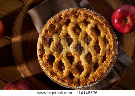 apple pie with lattice from top down overhead view