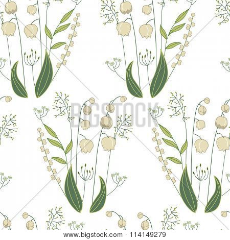 Seamless pattern with stylized cute lilies of the valley.  Endless texture for your design, greeting cards, announcements, posters.