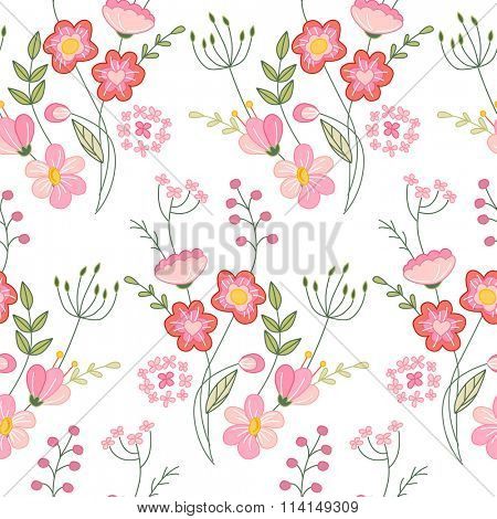 Seamless pattern with stylized cute flowers.  Endless texture for your design, greeting cards, announcements, posters.