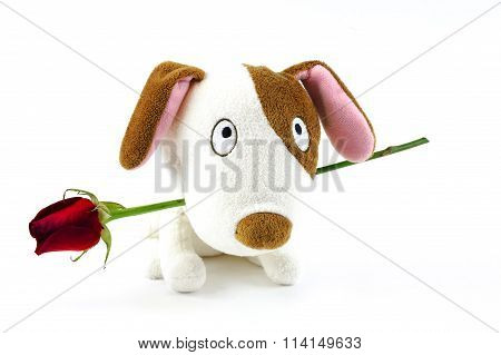 cute toy dog with red rose in mouth