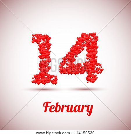 Happy valentines day 3D background with hearts. Vector illustration.