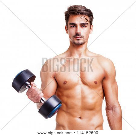 Fitness man lifting weights, isolated over white background