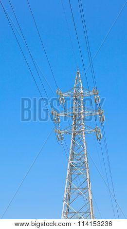 High power eletricty pole and nice blue sky