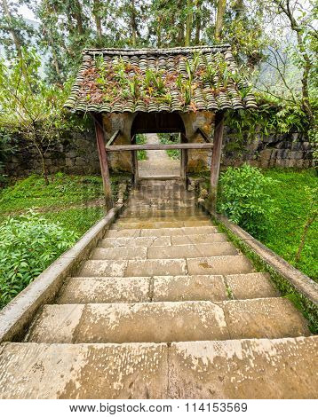Steps leading to the ancient gate ancient beautiful architecture moss
