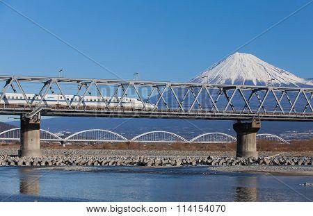 Shinkansen bullet train and Mountain Fuji