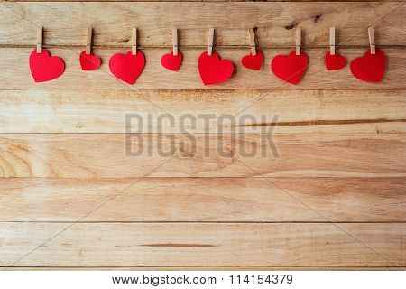 Red Paper Card Heart-shaped Hanging On The Walls