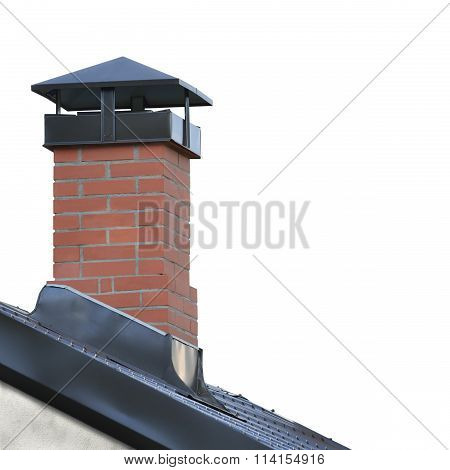 Red Brick Chimney, Grey Steel Tile Roof Texture, Gray Tiled Roofing, Large Detailed Isolated Vertica