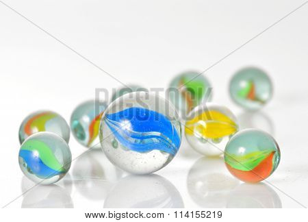 Close up image of assorted marbles