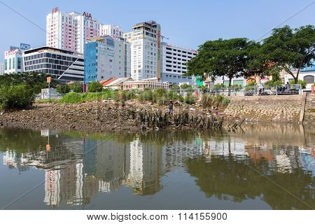HO CHI MINH, VIETNAM - JAN 11, 2016: Views of the city from the river. Although the city takes up just 0.6% of the country's land area, it contains 8.34% of the population of Vietnam.