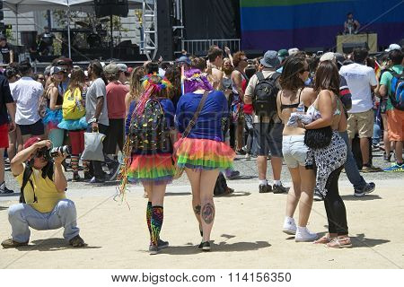 Unidentified participants celebrates at the Gay Pride Festival