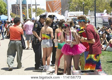 Unidentified participants celebrate at the Gay Pride Festival