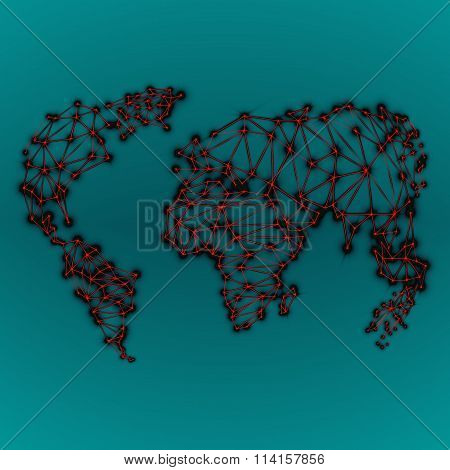 Abstract polygonal world map with glowing dots and lines network connections