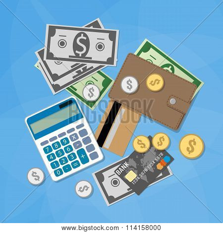Money items set