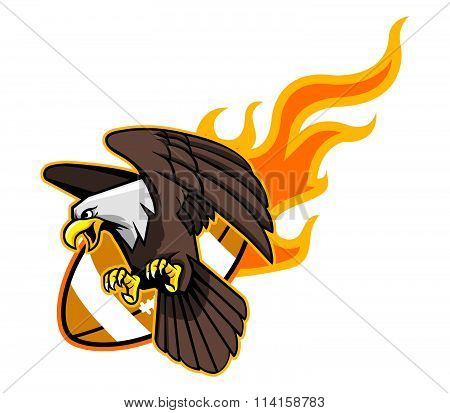 Flying Bald Eagle And Flaming Football