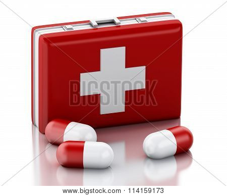 3D Red Heart, Pills And First Aid Kit.