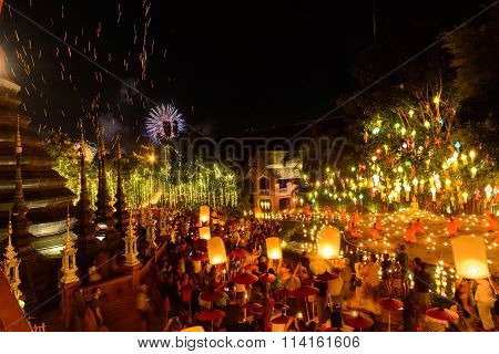 New year festival Thai people floating lamp in Phan Tao Temple Chiangmai, Thailand