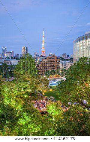 Tokyo Tower and green park in Japan summer season