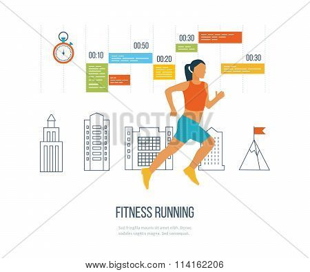 Running woman. Healthy lifestyle and fitness concept.