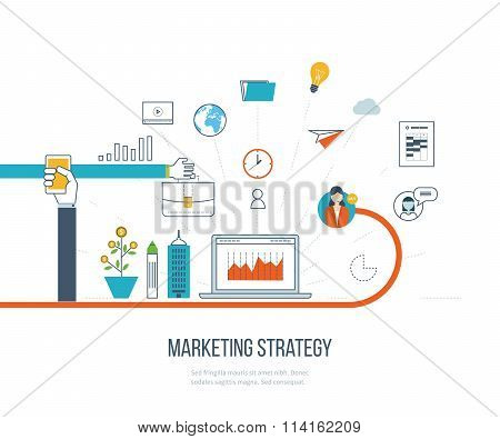 Marketing strategy and content marketing.  Investment management. Color line icons