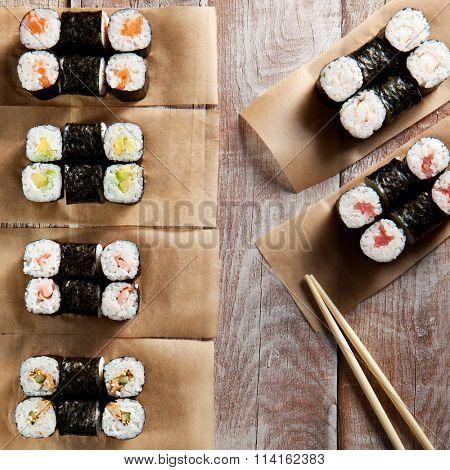 Maki Sushi Set with Soy Sauce