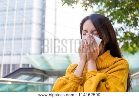 Asian Young woman got sick