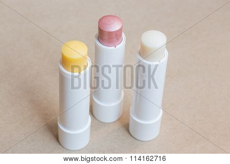 Moisturizer Lipstick On Brown Natural Background