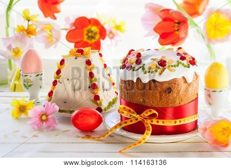 Festive Easter cake with the candied fruits