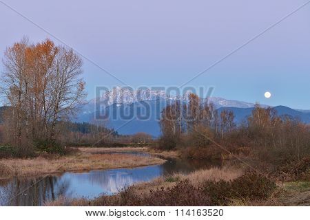 Pitt River And Golden Ears Mountain At Sunset And Moonrise